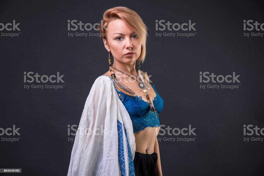 Modern Tribal Gypsy girl stock photo