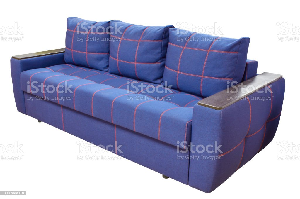 Cool Modern Triple Cozy Blue Fabric Sofa With Red Stitching And Gamerscity Chair Design For Home Gamerscityorg