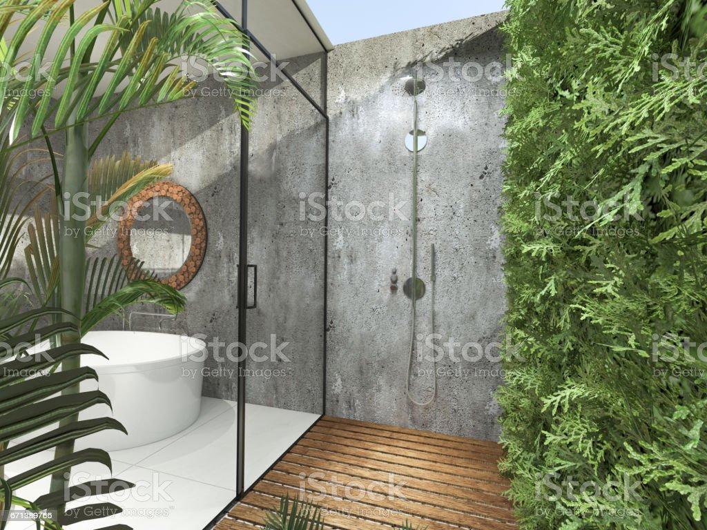 Photo Libre De Droit De Salle De Bains Moderne Tropicale