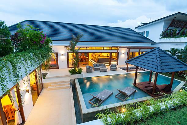 modern tropical villa - villa stock photos and pictures