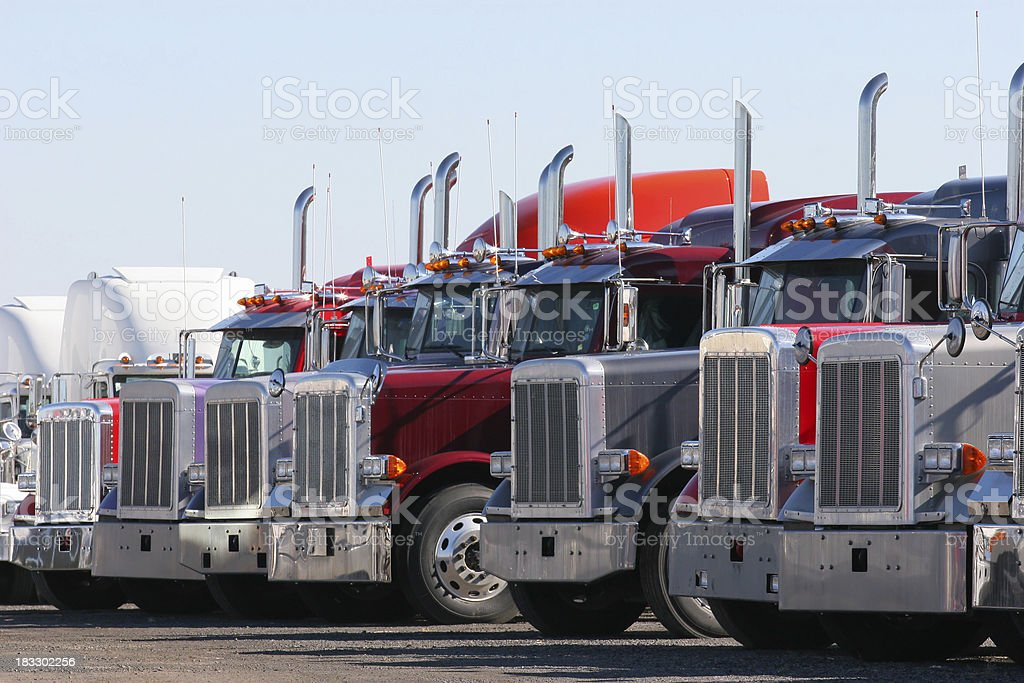 Modern Truck Line-up in Dealership stock photo