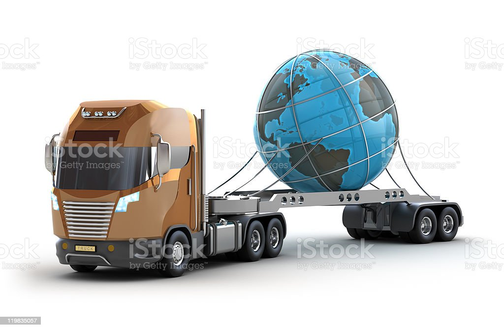 Modern truck with earth on white royalty-free stock photo