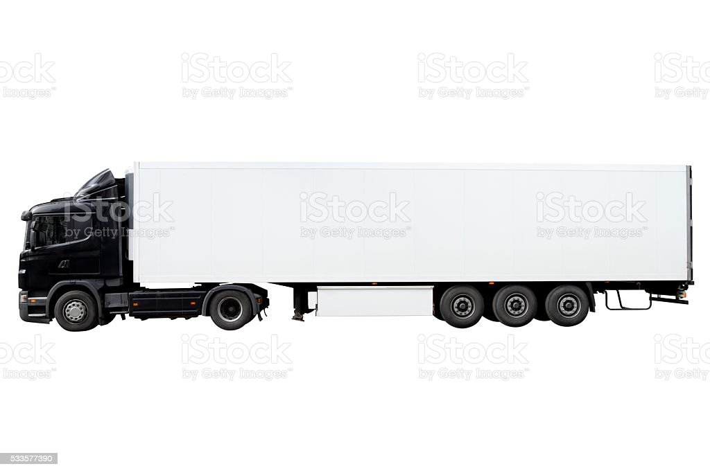 Modern truck with trailer. stock photo