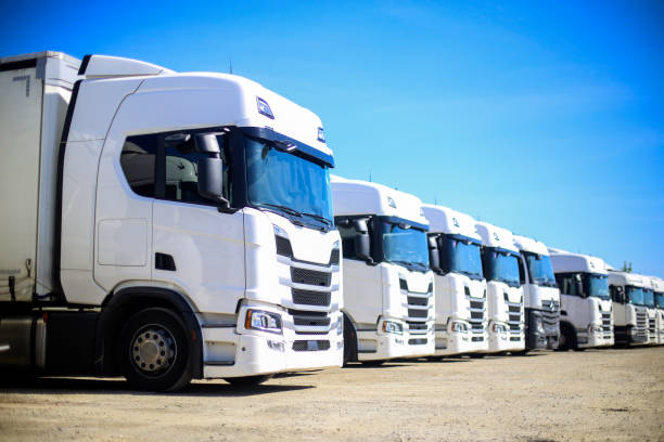Modern trucks stock photo