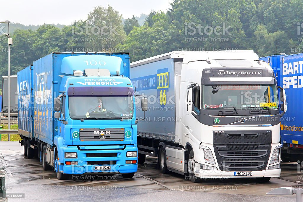 Modern trucks stock photo