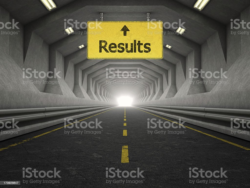 modern tunnel and results yellow sign royalty-free stock photo