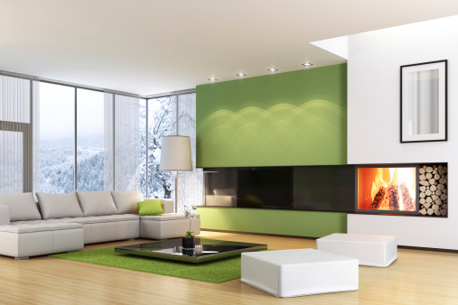 Modern TV Room with Fireplace