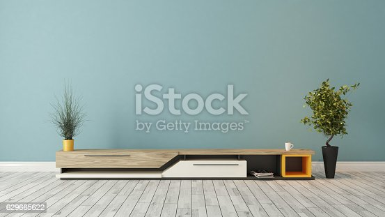 istock modern tv stand with blue wall design 629665622