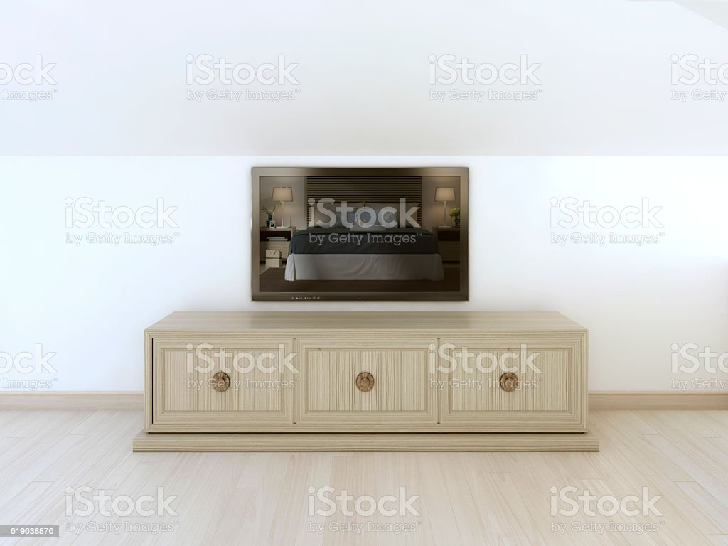 Modern Tv Unit In White Wall Stock Photo Download Image Now Istock
