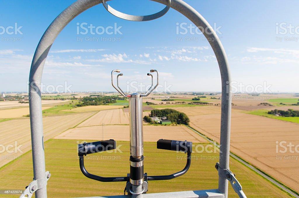 Modern ultrasound anemometer on top of windenergy turbine stock photo