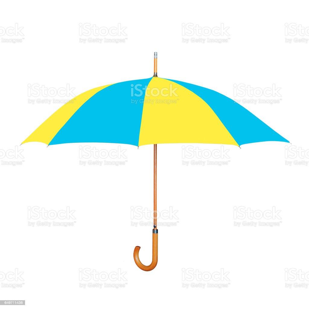 Modern umbrella in Ukrainian flag colors isolated on white. stock photo