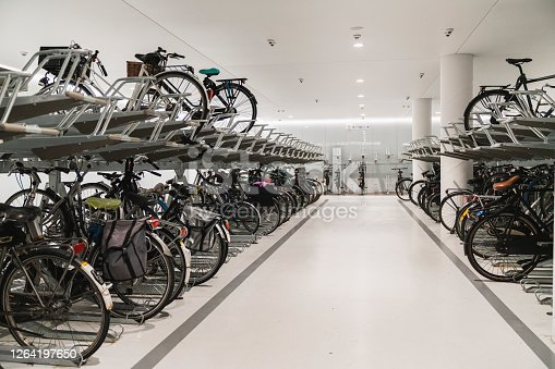 Modern underground bicycle parking lot of Amsterdam Netherlands