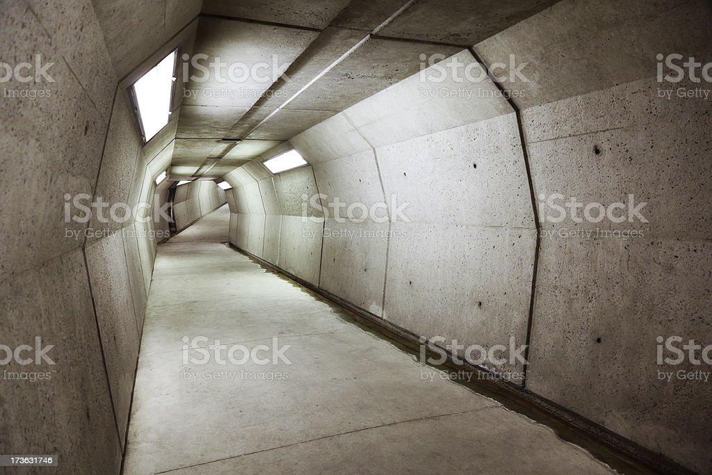 Modern underground concrete tunnel stock photo