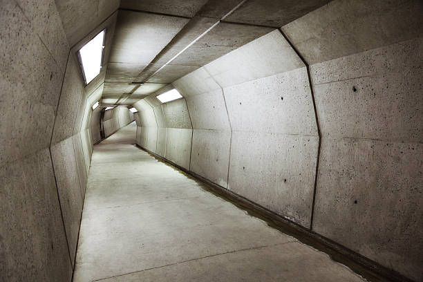 Modern underground concrete tunnel  bomb shelter stock pictures, royalty-free photos & images