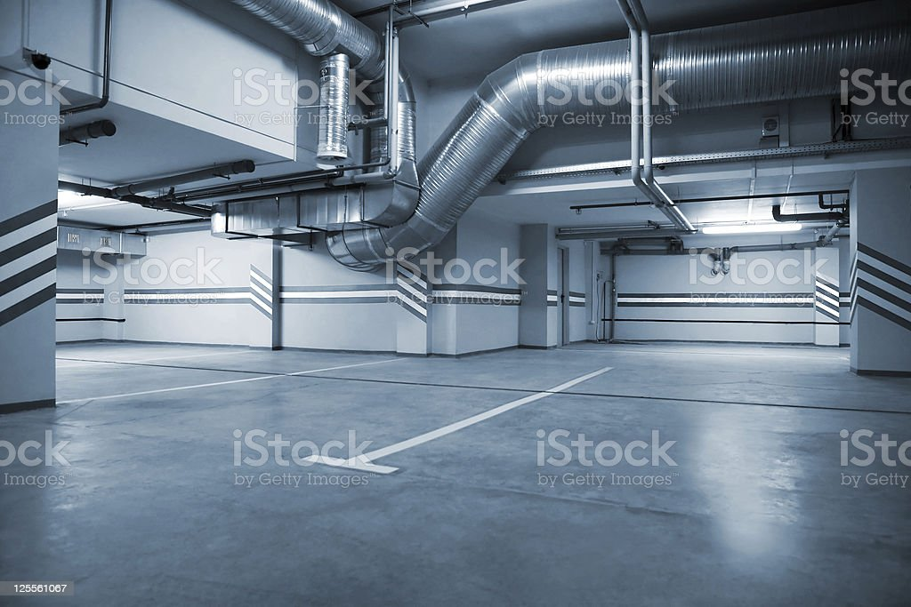 Modern underground parking structure stock photo