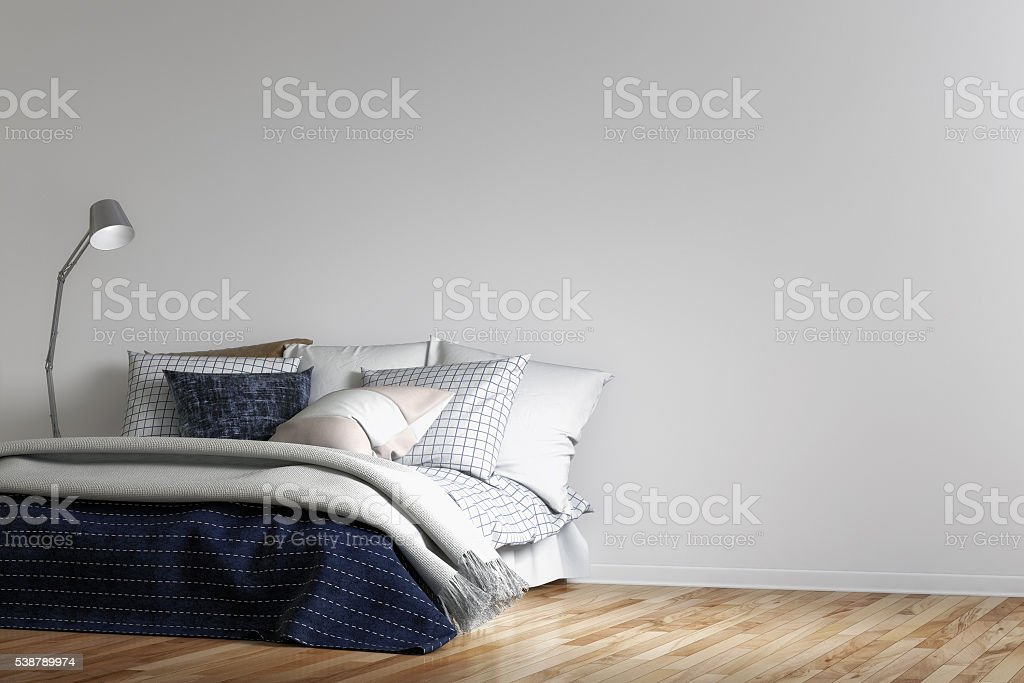 Modern urban bedroom with decoration stock photo