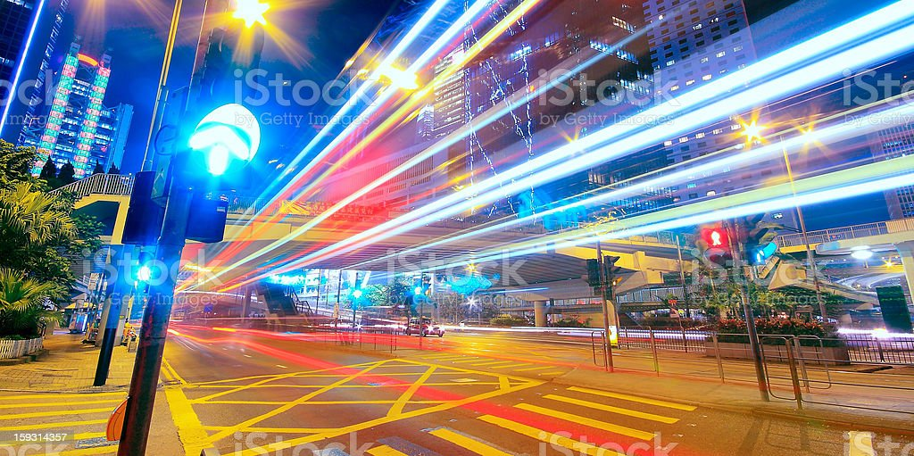 Modern Urban City at Night with Freeway Traffic royalty-free stock photo