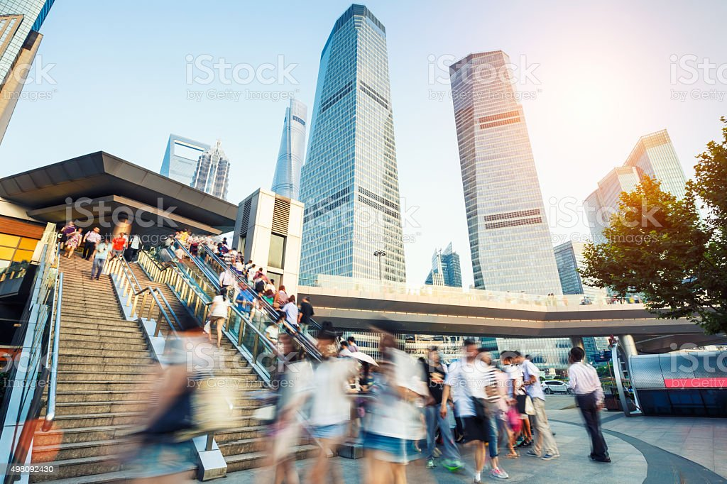 Modern urban of busy life condition in Shanghai, China stock photo