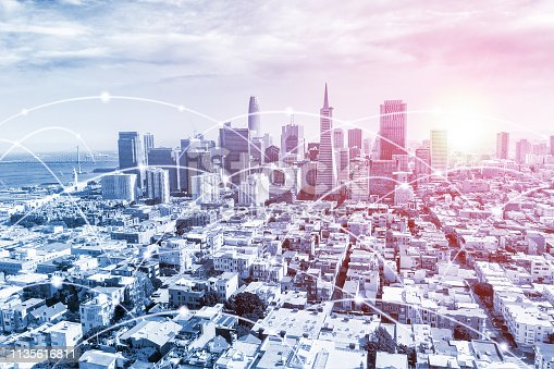 Modern San Francisco urban skyline with high-speed data and internet communication network. Concept of digital cyber network in big city with copy space.