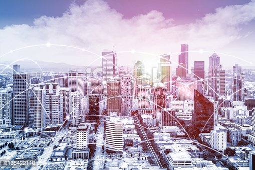 Modern Seattle urban skyline with high-speed data and internet communication network. Concept of cyber network in big city with copy space.
