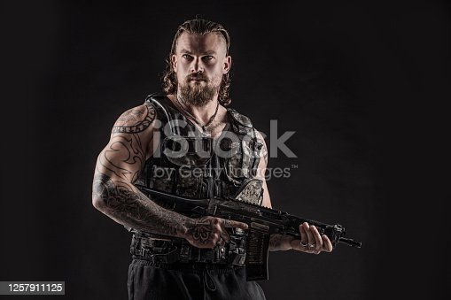 Modern urban warfare military Soldier in studio shoot
