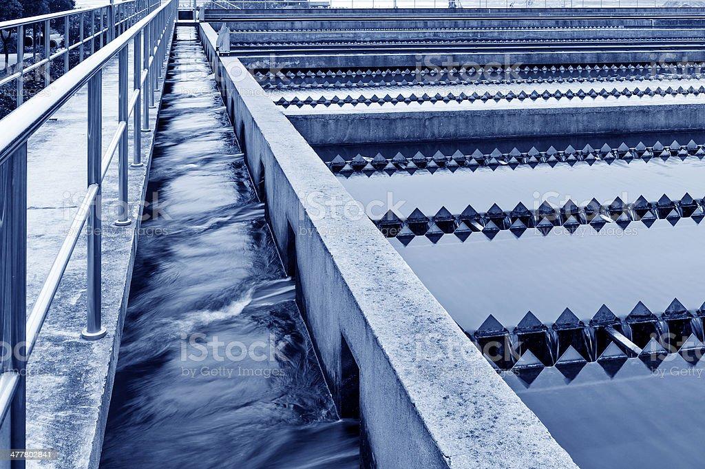 Modern urban wastewater treatment plant. stock photo