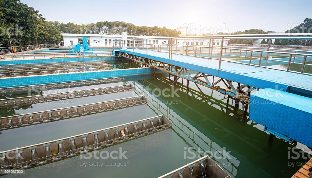 Modern urban wastewater treatment plant stock photo