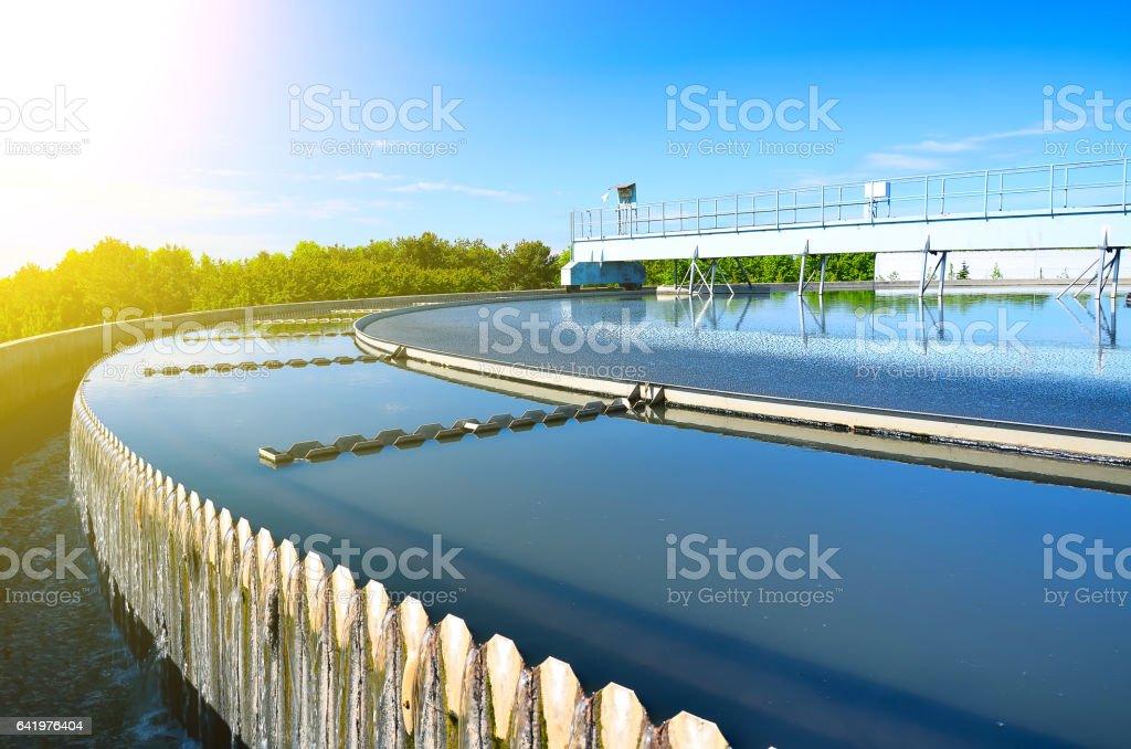 Modern urban wastewater treatment plant. Modern urban wastewater treatment plant. Biology Stock Photo