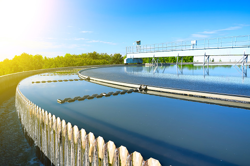 Modern Urban Wastewater Treatment Plant Stock Photo - Download Image Now