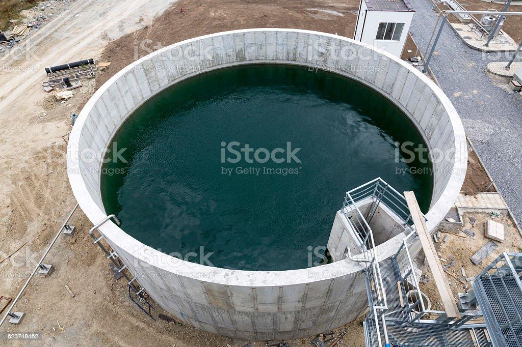 Modern urban wastewater treatment plant tank stock photo
