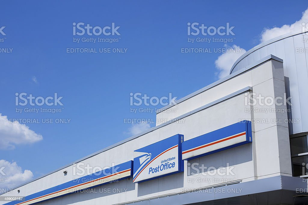 Modern US Post Office exterior building and sign royalty-free stock photo