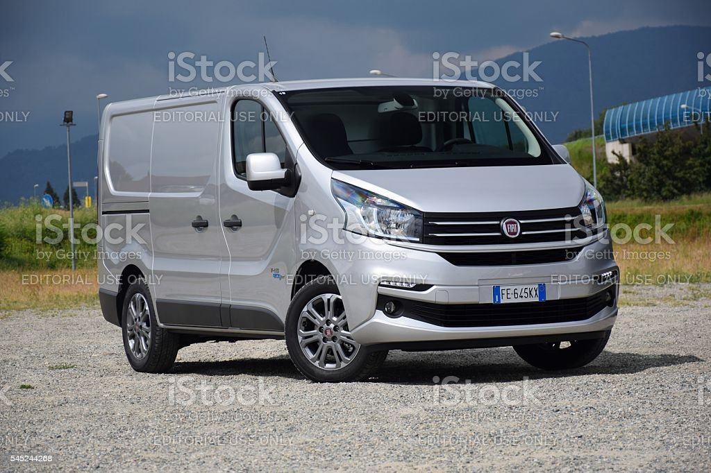 Modern van on the road stock photo
