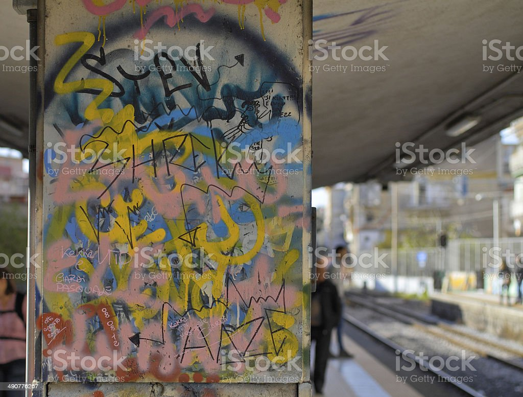 Graffiti at railway station Ercolano Scavi Italy stock photo