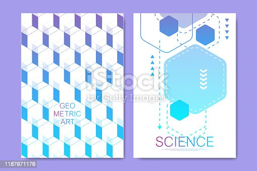1172913655istockphoto Modern vector templates for brochure, cover, poster, banner, flyer, annual report. Abstract art composition with hexagons, connecting lines and dots. Digital technology, science or medical concept 1187671176