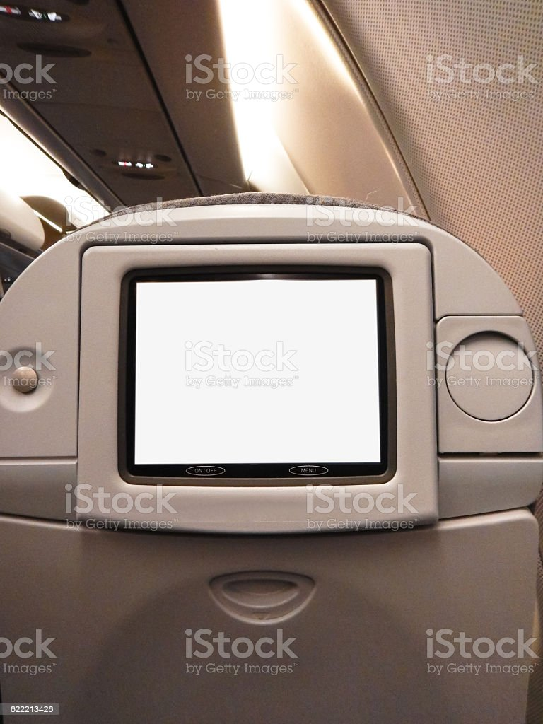 modern vehicle airplane seats with lcd display stock photo