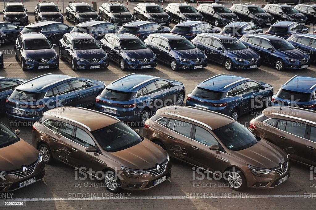 Modern vehicles on the parking in a row stock photo