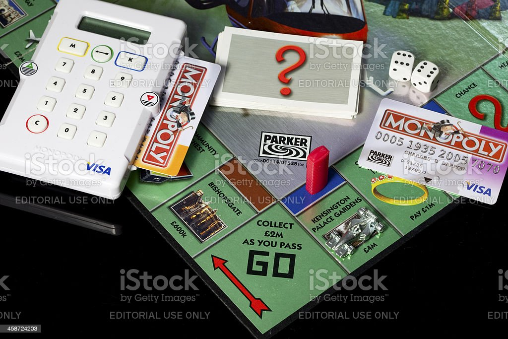 Modern version of Monopoly board game with electronic banking royalty-free stock photo