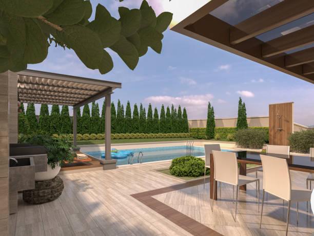 modernevilla haus mit pool und modernen garten mit trvertin-terrasse und pergola. 3d-rendering - garagen pergola stock-fotos und bilder