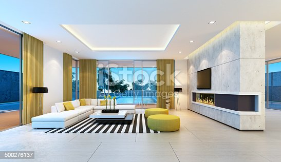 Contemporary villa living room.