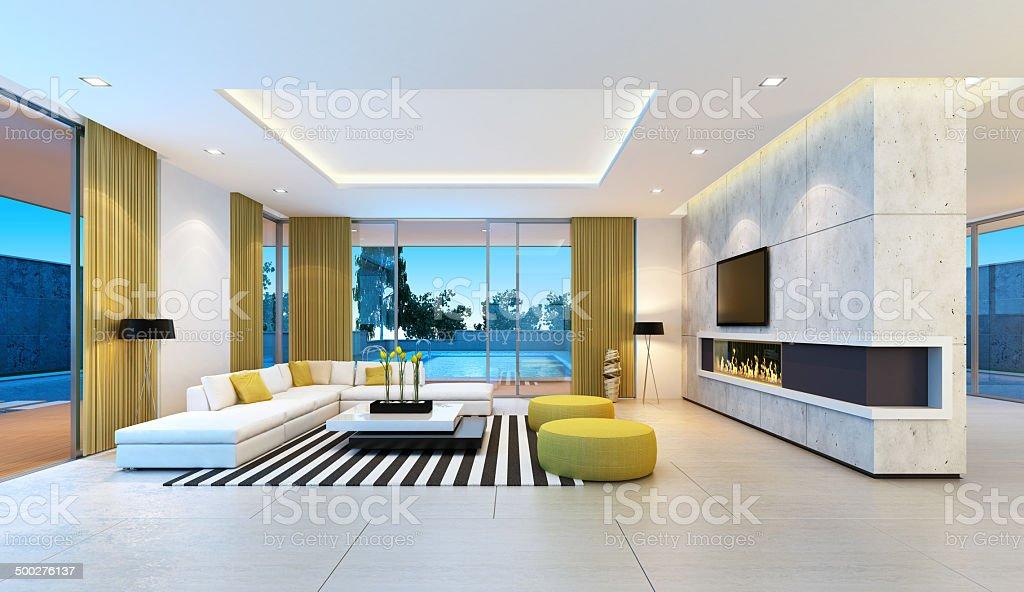 Moderno Interior da Villa - foto de acervo