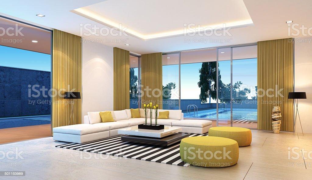 Modern Villa Interior stock photo