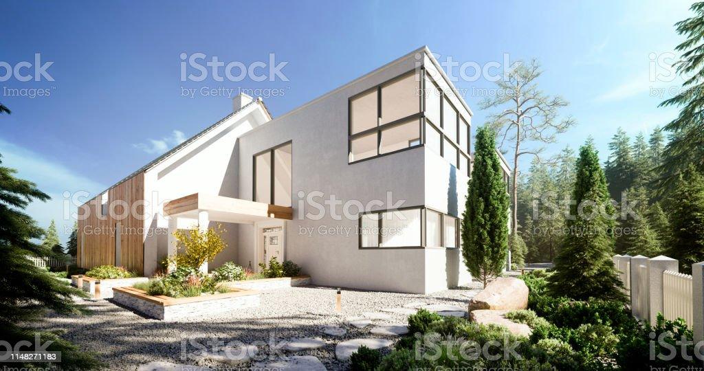 Modern Villa - Foto stock royalty-free di 8K Resolution