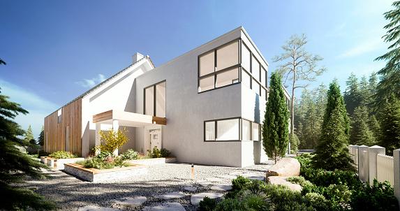 Modern Villa - Fotografie stock e altre immagini di 8K Resolution