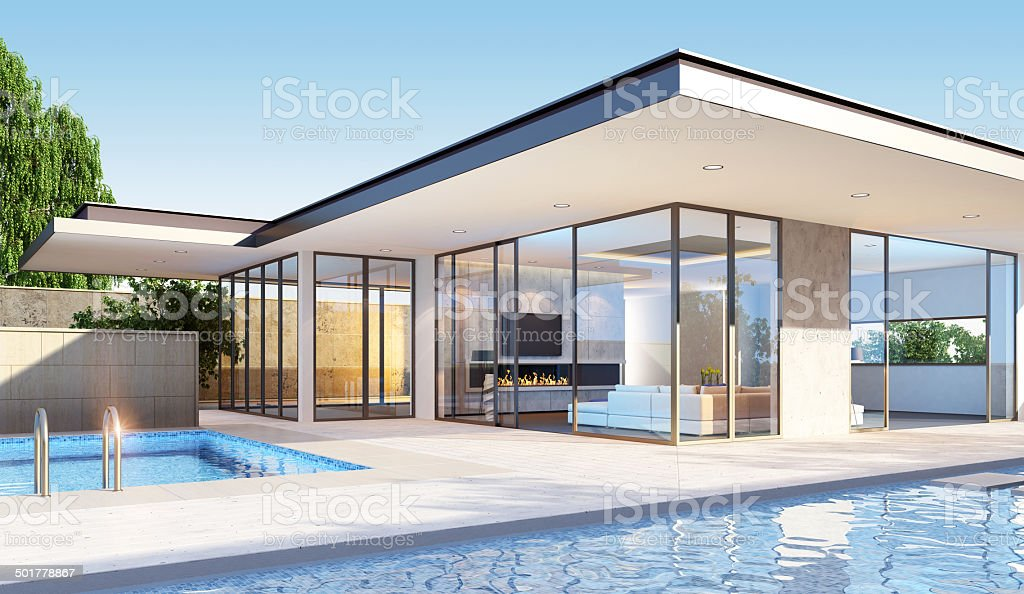 Modern Villa stock photo