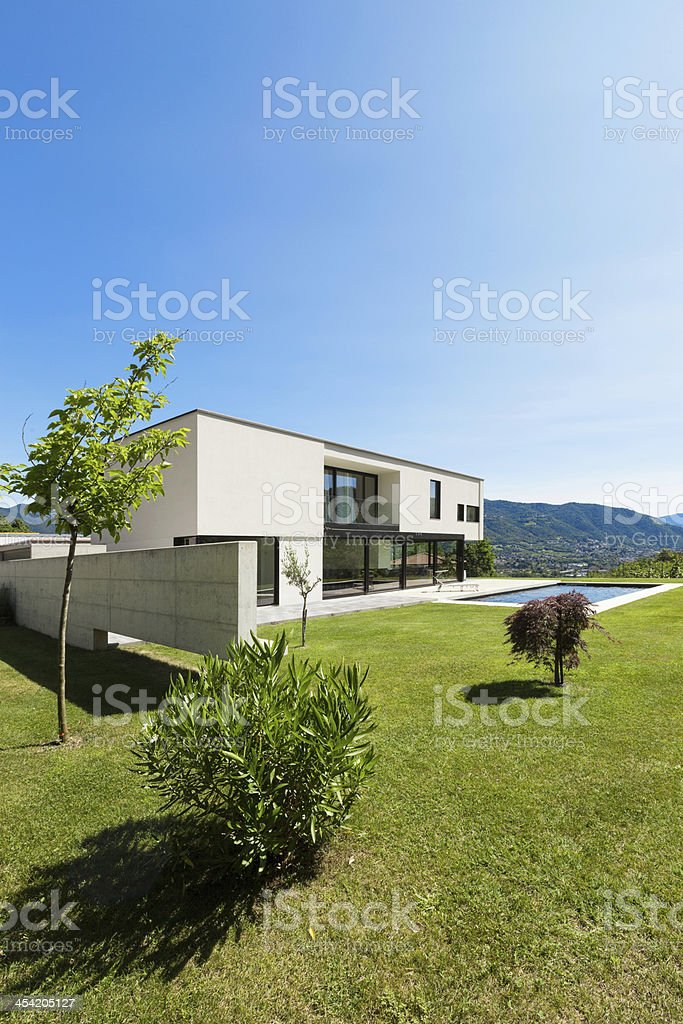 Modern villa with pool royalty-free stock photo