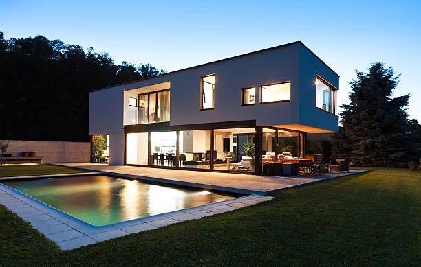 Modern villa with pool stock photo