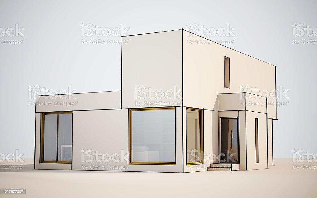 Modern villa with sketch stock photo