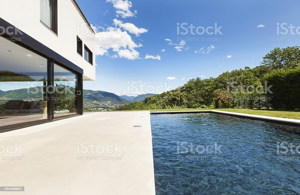 Modern villa with swimming pool royalty-free stock photo