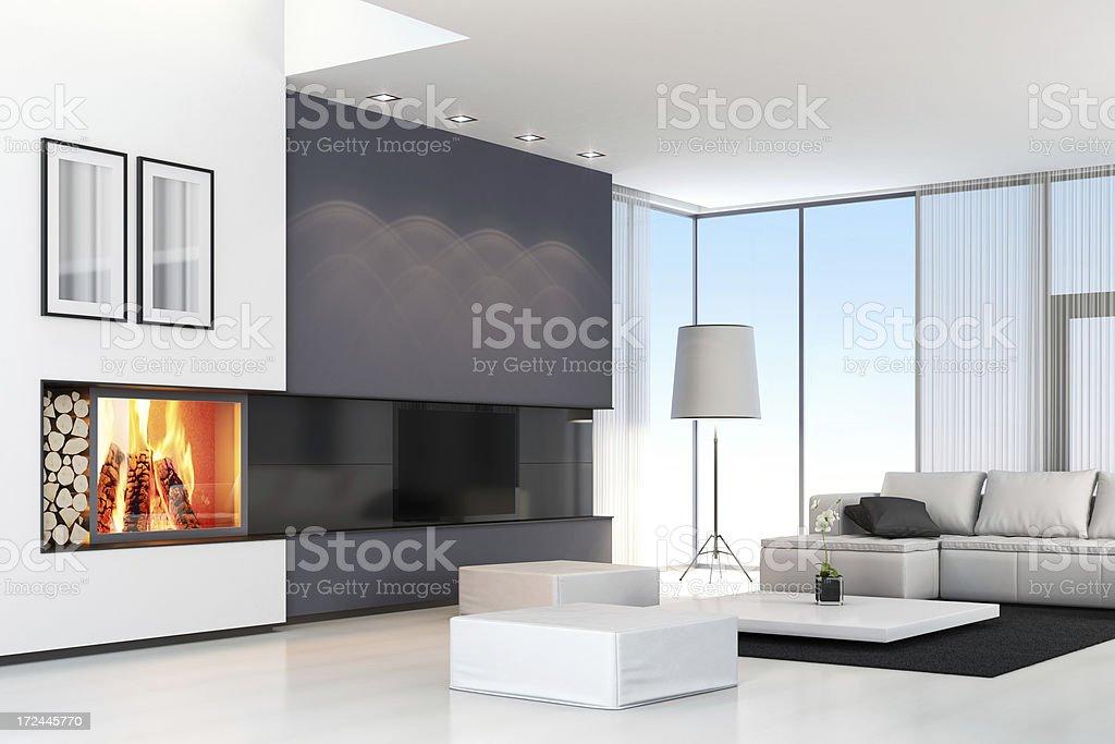 Moderne Villa Mit Fernseher U0026 Kamin Lizenzfreies Stock Foto