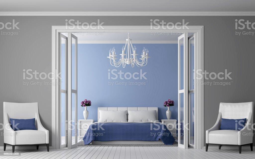Modern vintage bedroom interior 3d rendering Image. stock photo